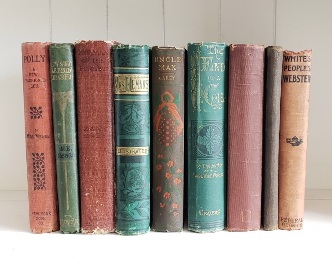 Lot of 9 Antique Victorian / Vintage Books Green Brown Red Colors Rustic  Shabby Chic Old Farmhouse Decor Instant Library Cottage Wedding